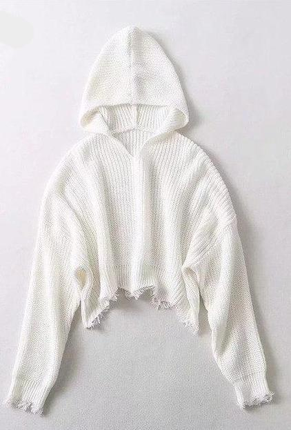 White Hooded Knitted Sweater - Loose Cropped Pullover - My Lifestyle Stores