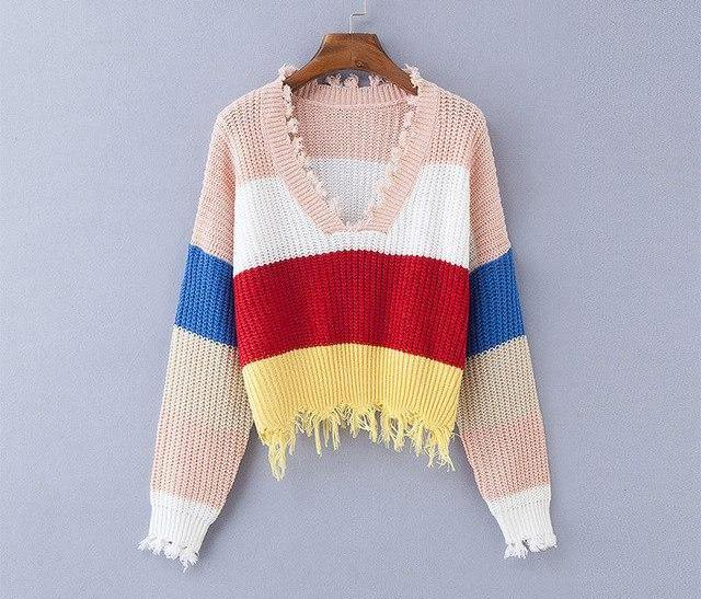 Multi Color Blocked Cropped Sweater - Deep V-neck Knitted Pullover - My Lifestyle Stores