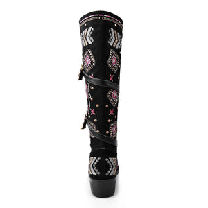 Style Embroidered Square Heels mid-calf Boots - My Lifestyle Stores