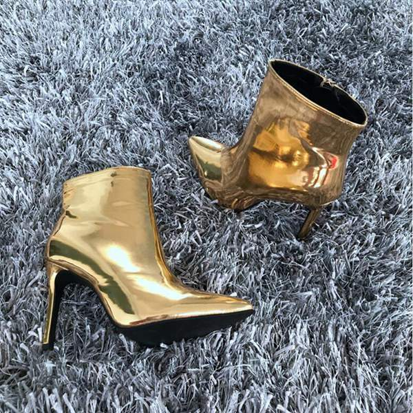 Metallic leather ankle boots with high heels - My Lifestyle Stores