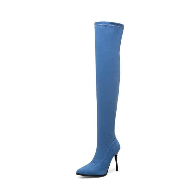 Denim Stretched Fabric Over The Knee Boots - My Lifestyle Stores