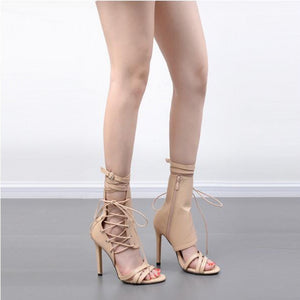 Lace Up Strappy Zipper Heels