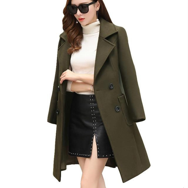 Elegant Long Woolen Coat | Plus Size - My Lifestyle Stores