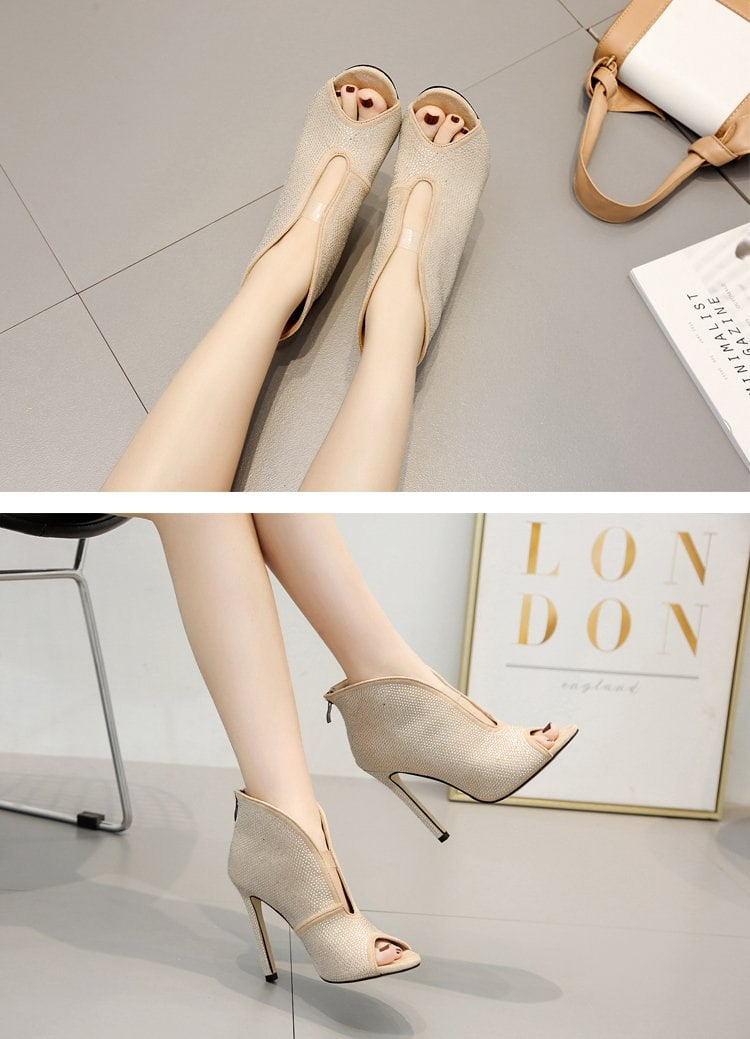 Cut Out V Flock Pumps Stilettos Zipper Heels