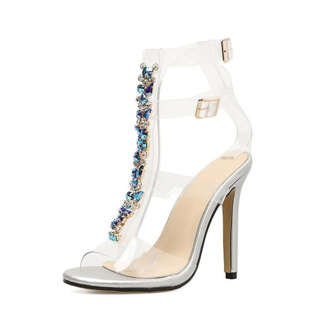 Crystal Chain Clear Buckle Heel