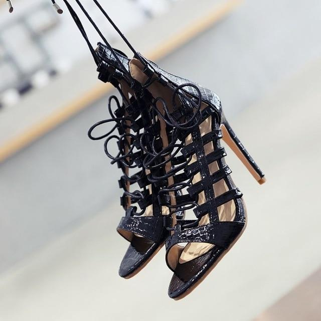 Open Toe Lace up High Heels Shoes