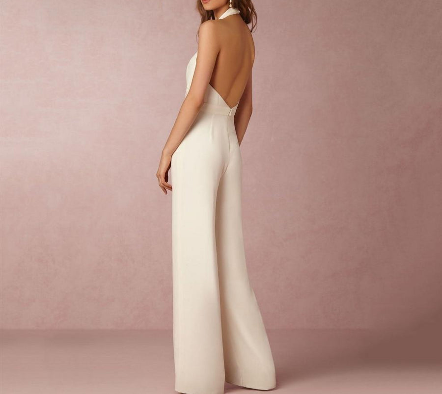 Plunging Halter Neck Jumpsuit