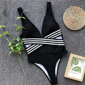 Stripped Criss Cross Backless Brazilian Monokini - My Lifestyle Stores