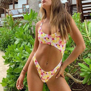 Hot Floral Cutout Monokini - My Lifestyle Stores