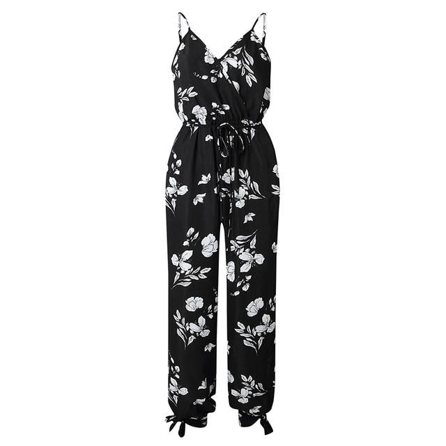 Spaghetti Strap Side Slit Bow Jumpsuits