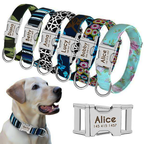 Personalized Adjustable Dog Collar with Name Tag