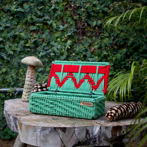 Christmas' Handwoven Red & Green cotton box