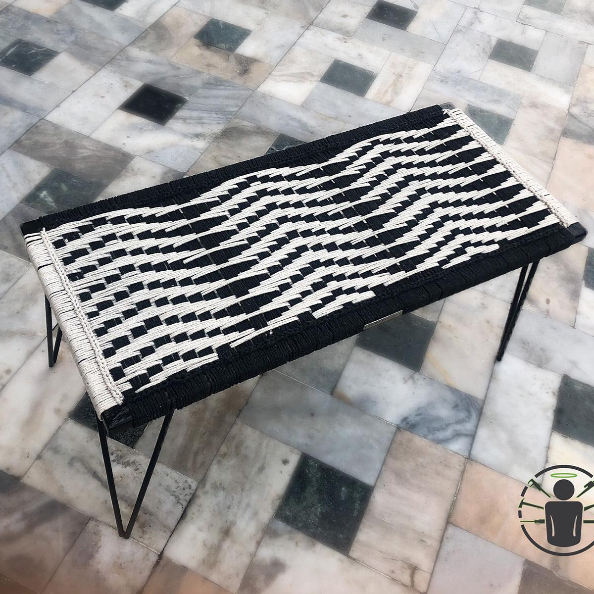 The Wave Recycled Cotton Metal Bench