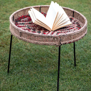 'Ida' Handwoven Round Tray Table (Large)