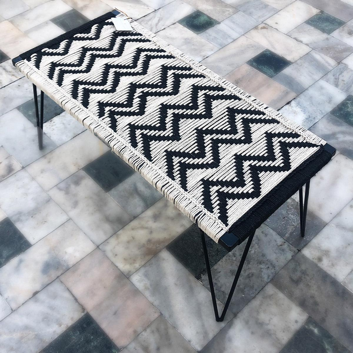 Double Wave Handwoven Black & White Metal Bench