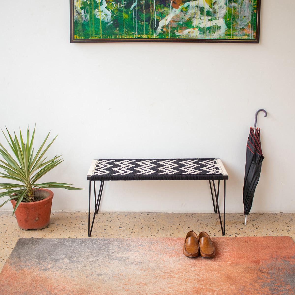 Double Wave Recycled Cotton Metal Bench