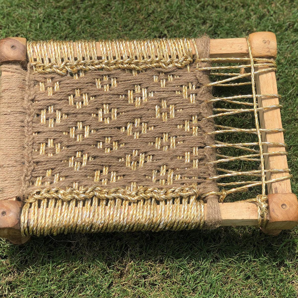 Golden Handwoven Jute & Plastic Waste Mini Charpai