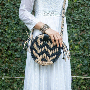 Sparkle Cotton & Jute Round Bag