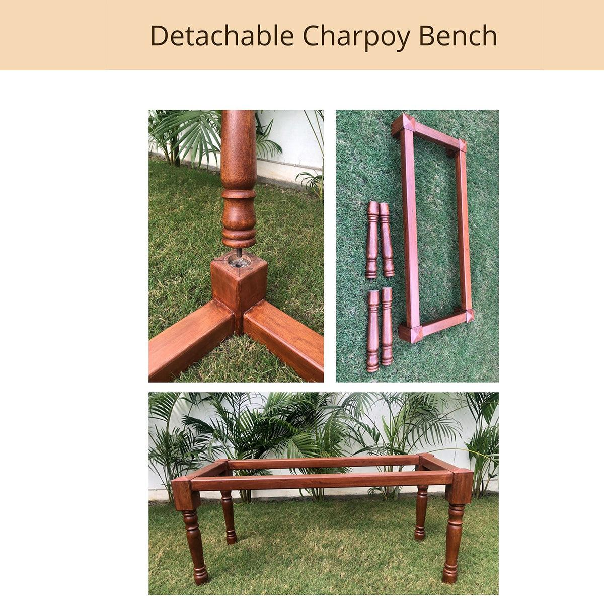 Jhelum Recycled Cotton Wooden Bench