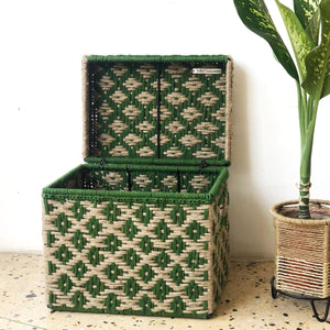 Forest Green Jute & Textile Trunk