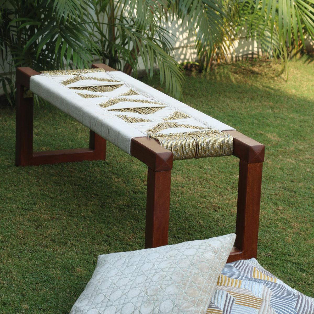 Muse Cotton & Gold Plastic Wooden Bench