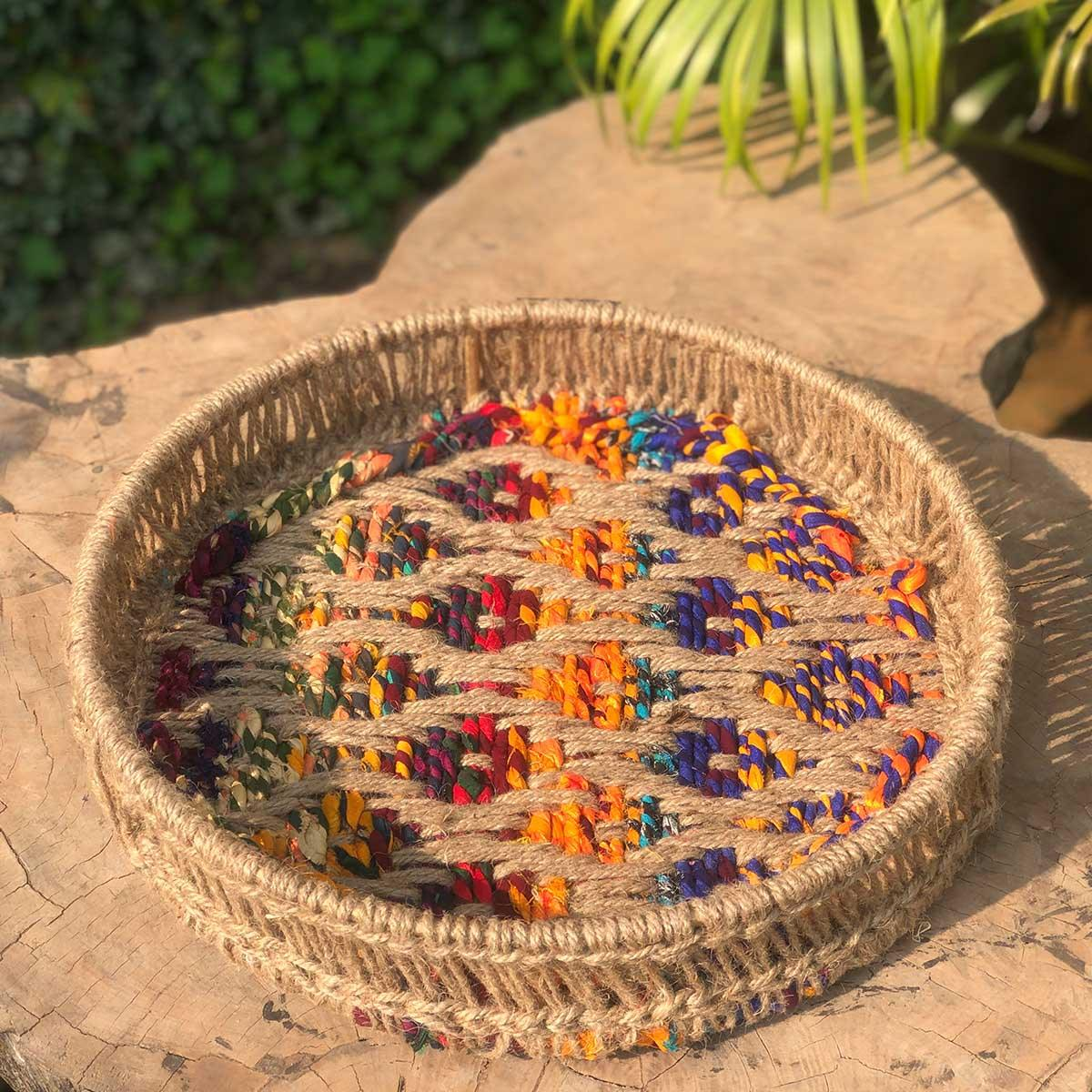Spiral Upcycled Textile Round Tray