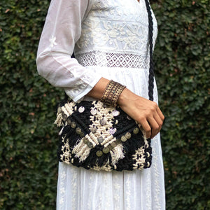 Afghani Tribal Macrame Cotton Sling Bag