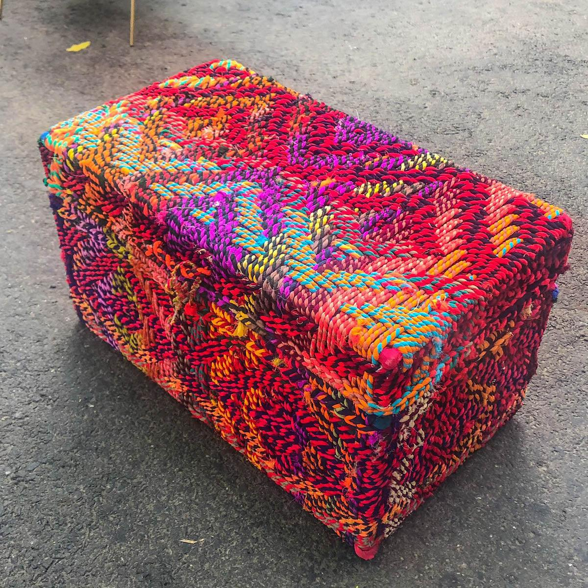 Traditional Weave Handwoven Colourful Textile Waste Trunk