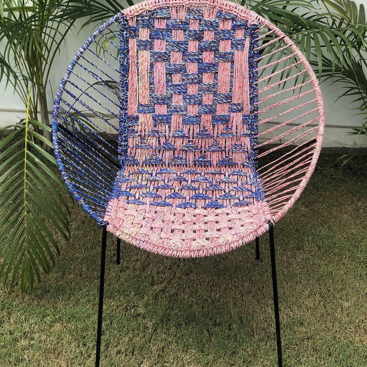 Aster Handwoven Colourful Plastic Waste Garden Chair