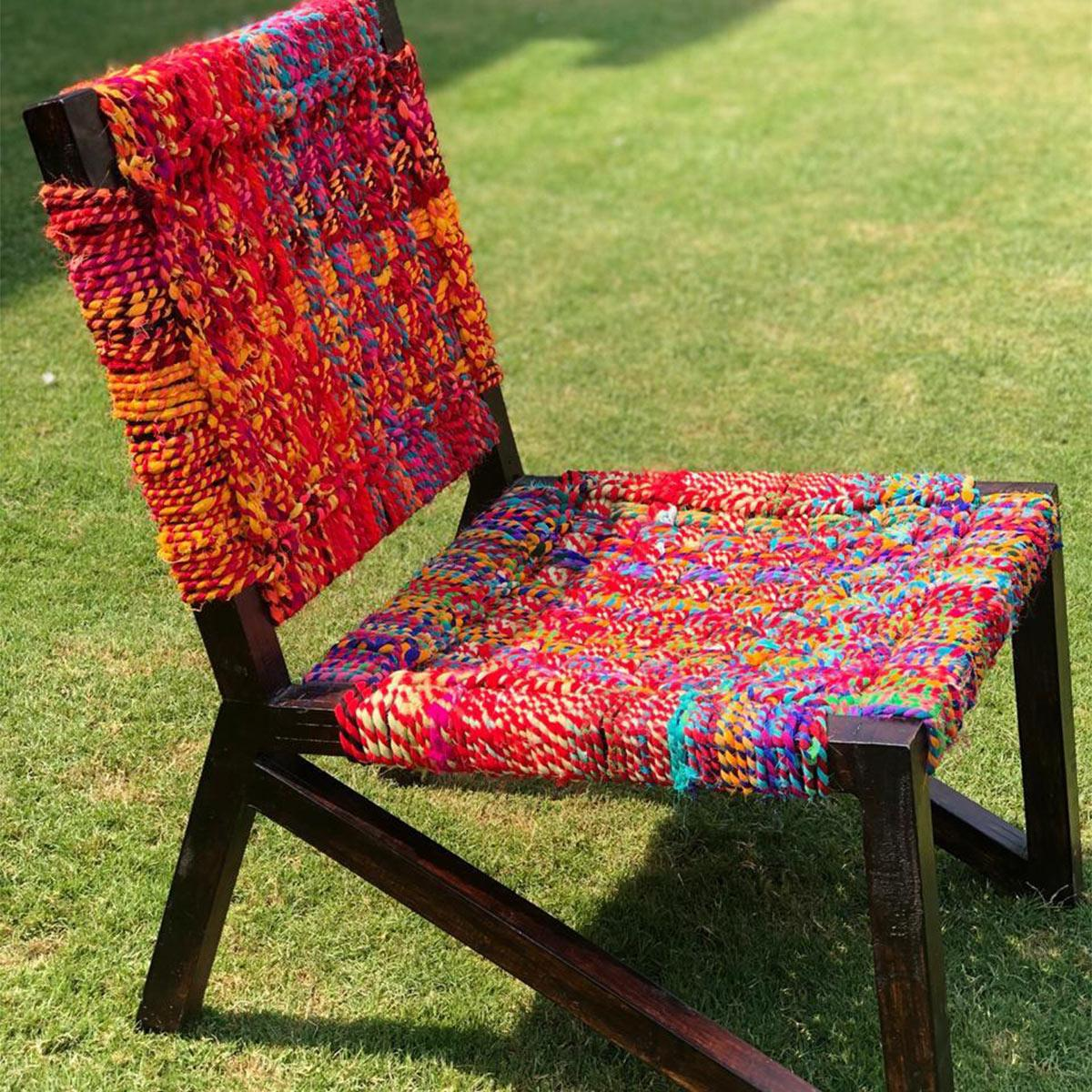 Chanchal Chameli Handwoven Colourful Textile Waste Chair