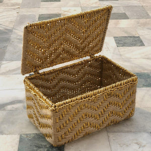 Mini American Jute & Gold Plastic Box