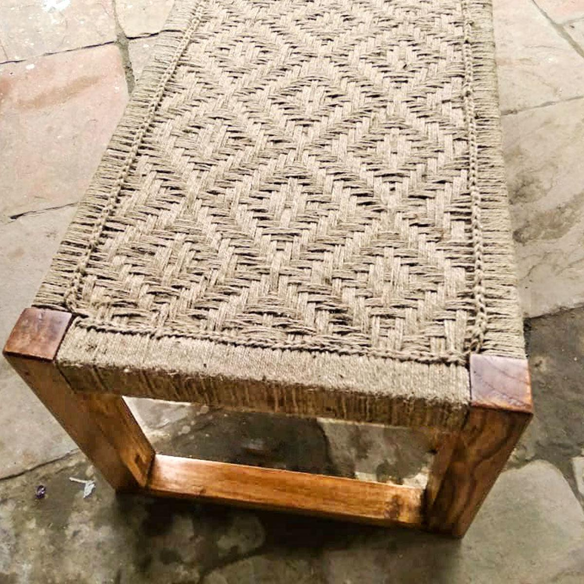 'The Brown Thrasher' Handwoven Jute Wooden Bench