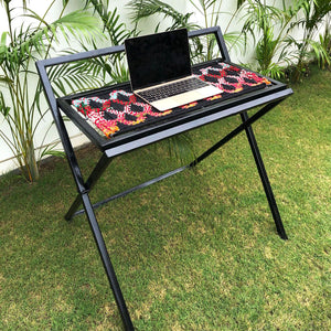 'WFH' Handwoven Multicoloured Textile Waste Folding Desk