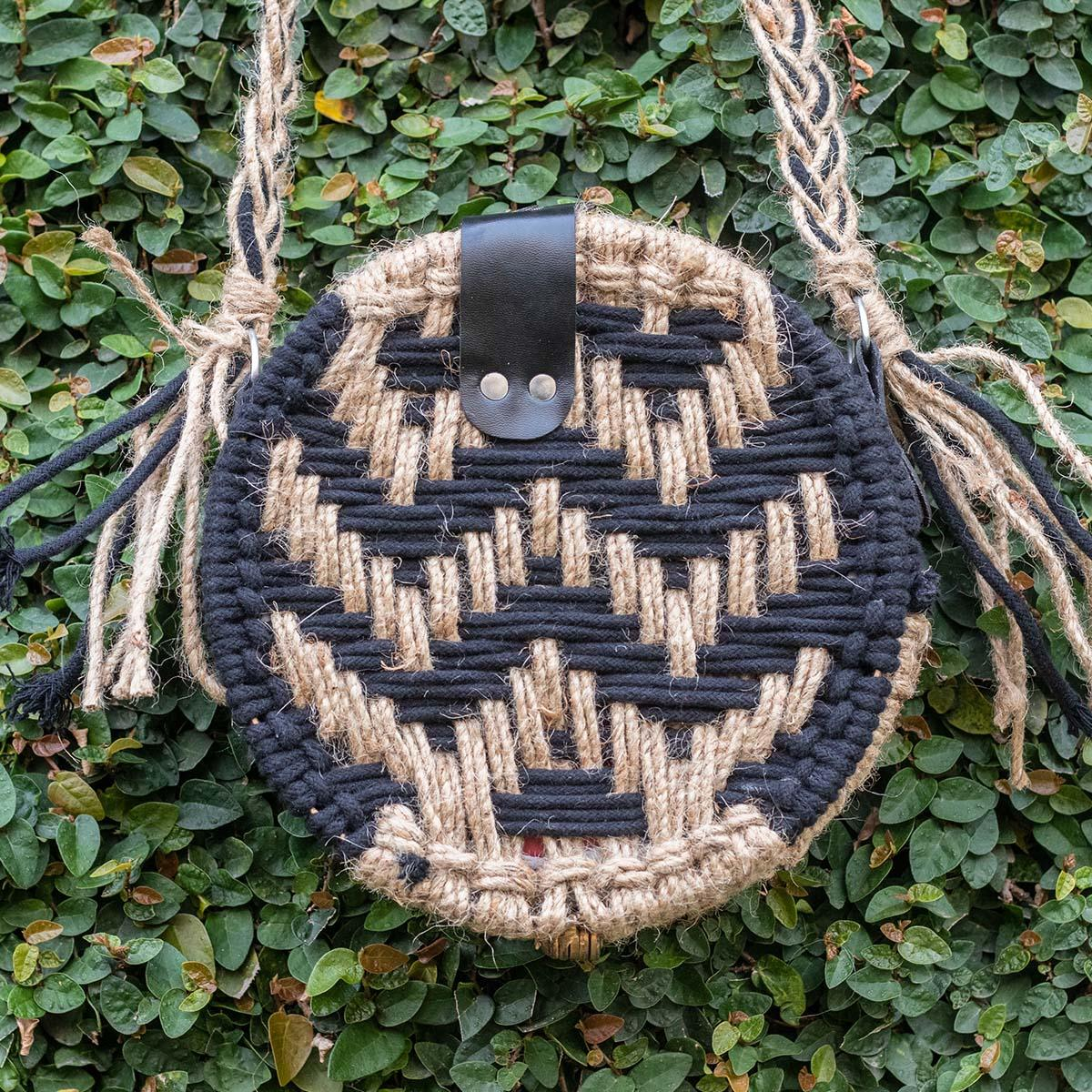 Sparkle Handwoven Black Cotton & Jute Round Bag