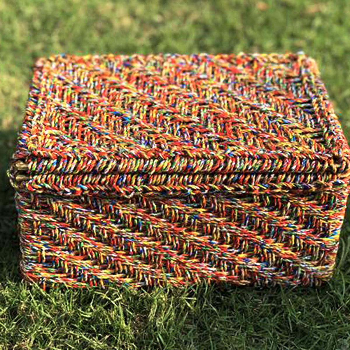 Little Bunting Handwoven Colourful Plastic Waste Box