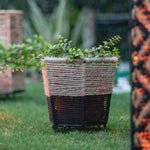 Load image into Gallery viewer, (s) Rustic Handwoven Black Cotton & Jute Planter