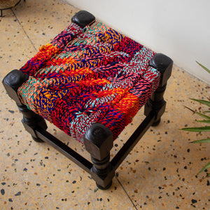 Cherry Textile Wooden Stool