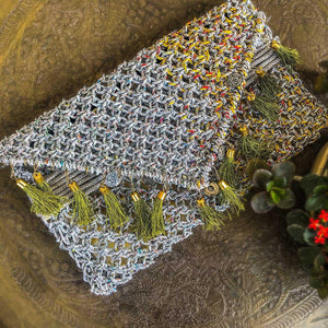 Pakeezah's Tale Handwoven Colourful Plastic Clutch