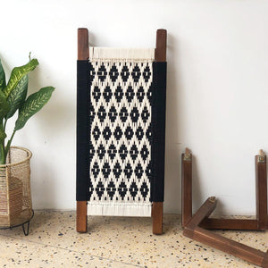 'Sawasti' Handwoven Black & White Wooden Bench