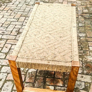 Brown Thrasher Natural Jute Wooden Bench