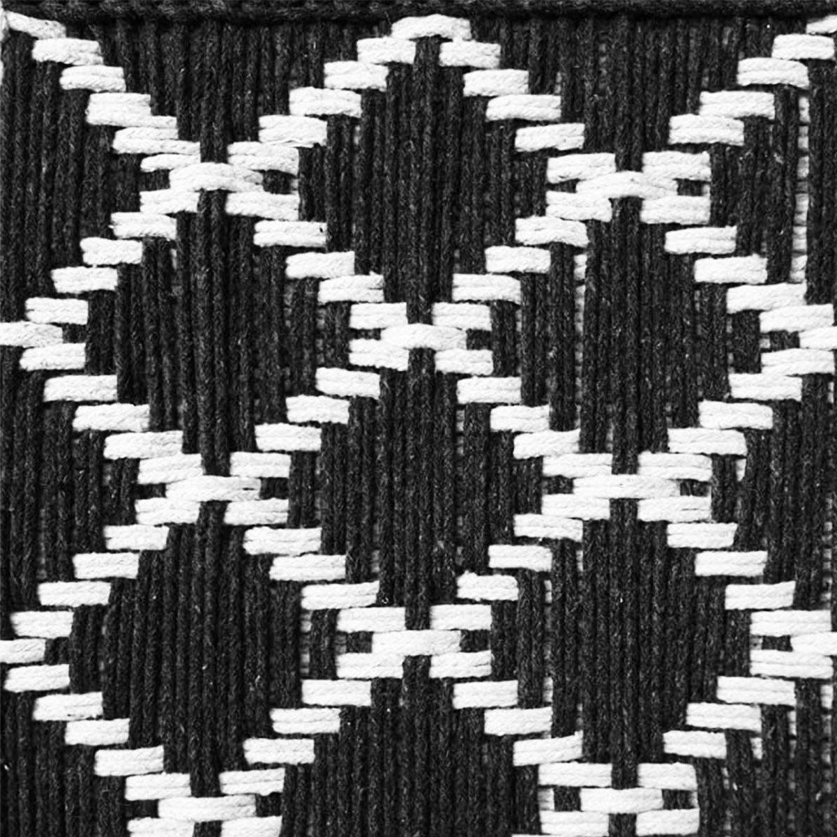 Every Room Handwoven Black & White Cotton Stool 1.0