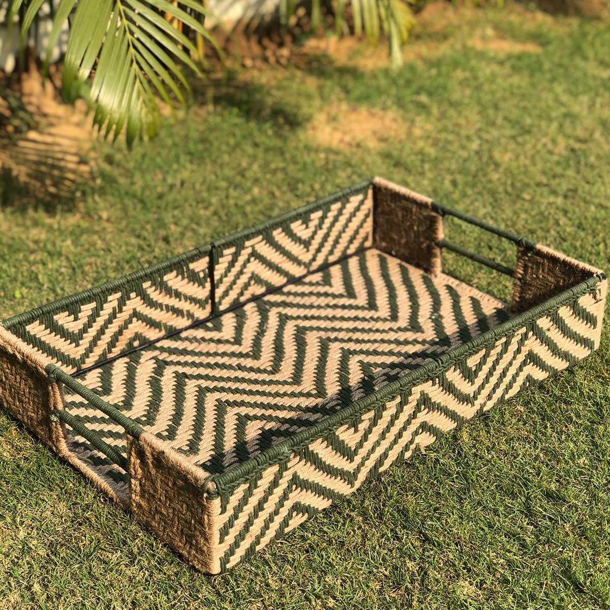 Pine Green Natural Jute & Cotton Tray