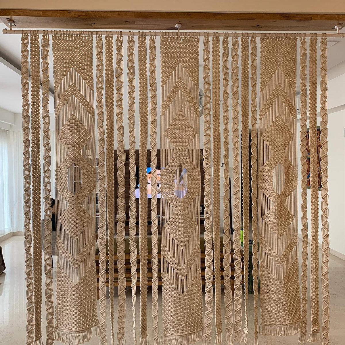 (s) Regal Handwoven Recycled Macrame Cotton Screen Divider