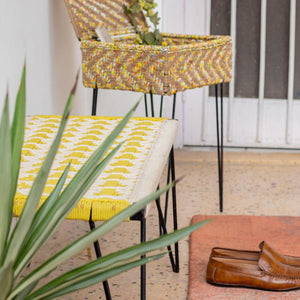 'Parrotfinch' Handwoven Yellow & White Cotton Metal Bench