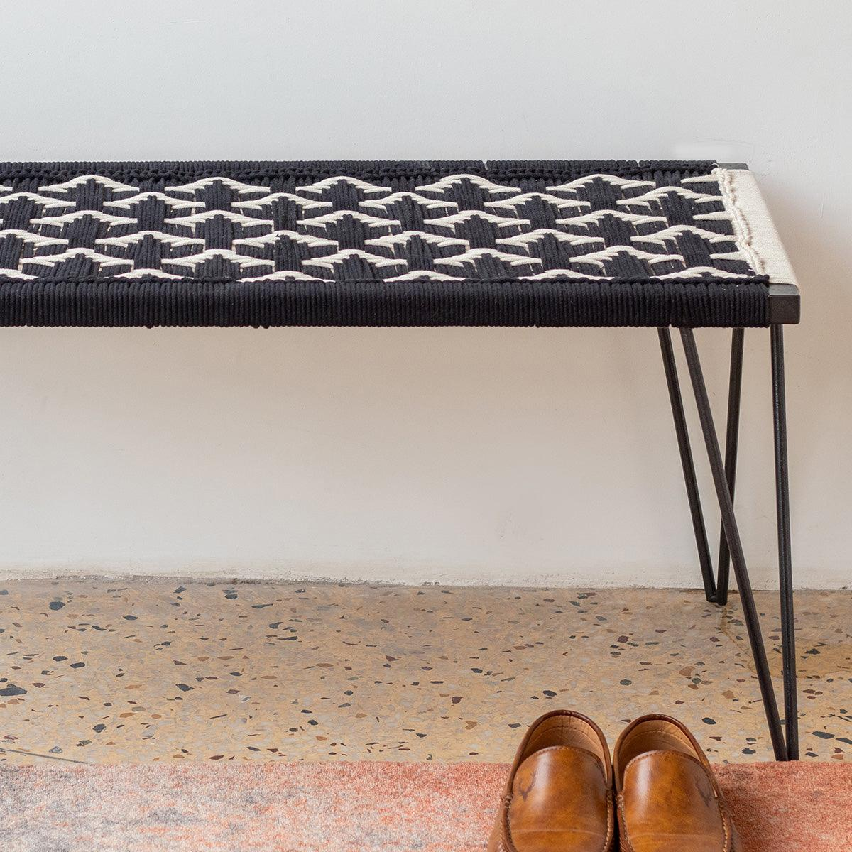 Birdy Handwoven Black & White Cotton Metal Bench