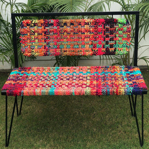 Jaipur Textile Waste Foldable Metal Bench