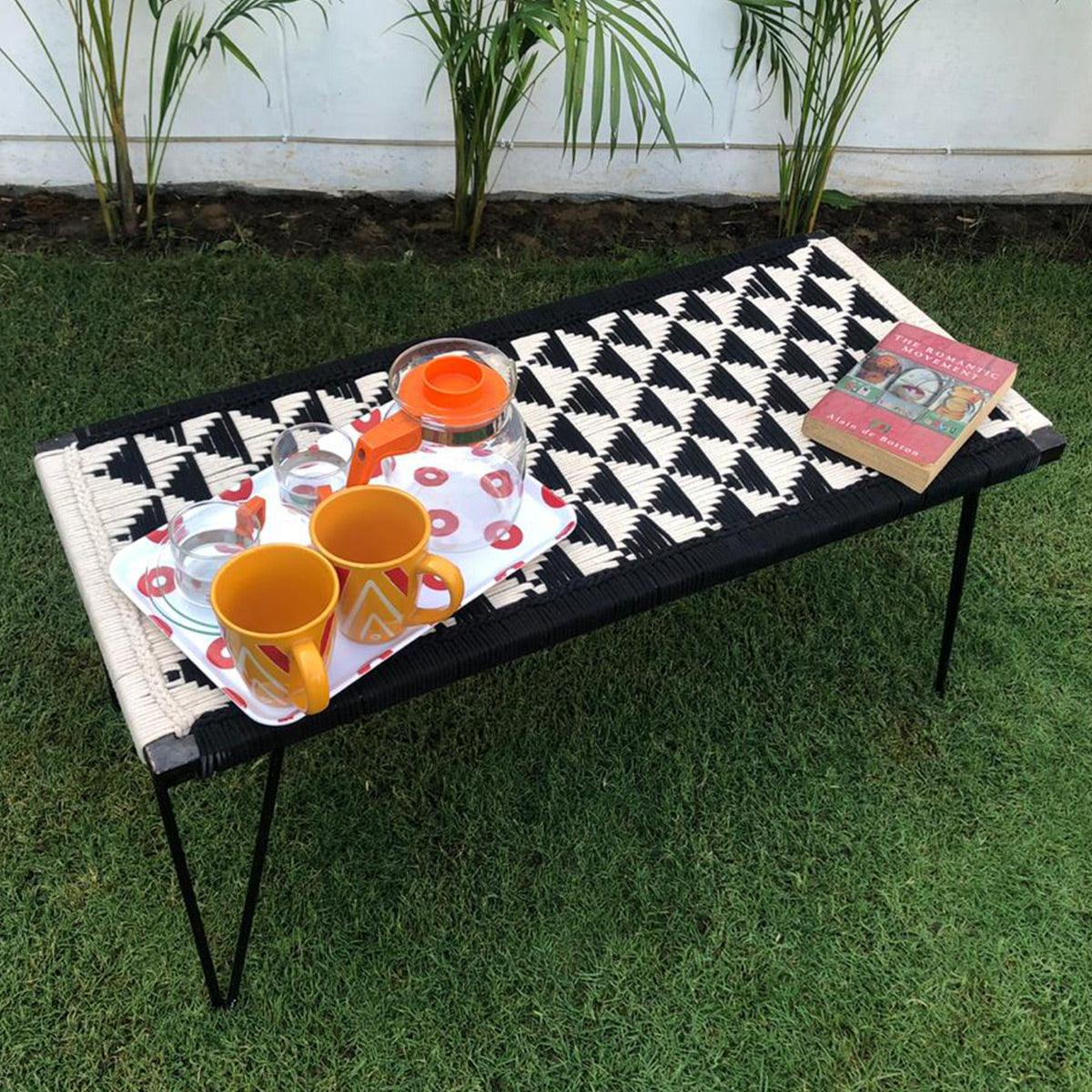 Pyramid Recycled Cotton Metal Bench