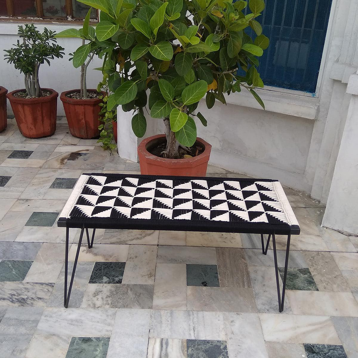 Pyramid Handwoven Black & White Cotton Metal Bench