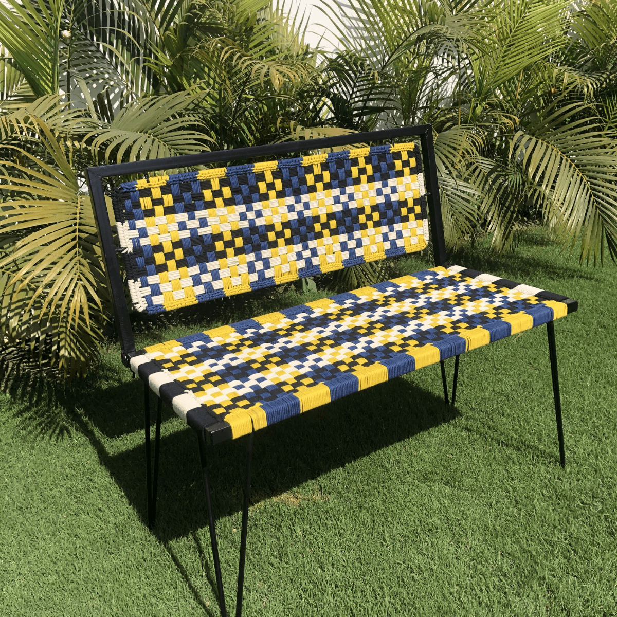 Bright Plaid Cotton Foldable Metal Bench