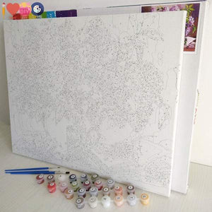 Flowers & House - Paint by Numbers Kit